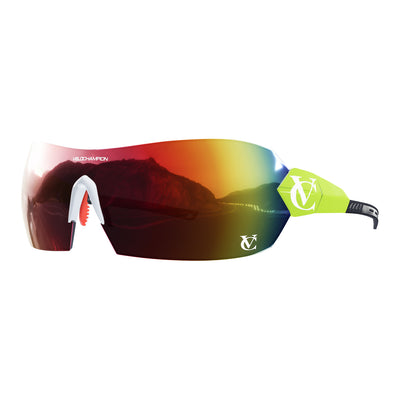 Hypersonic cycling glasses with lime green frame, red lens and white nose piece | VeloChampion