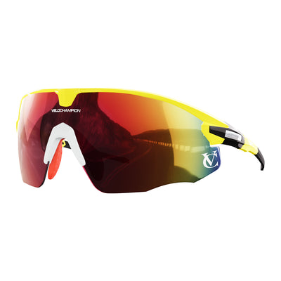 Missile customisable sunglasses with yellow frame, red lens and white nose piece | VeloChampion