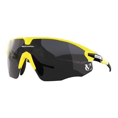 Missile customisable sunglasses with yellow frame, black lens and yellow nose piece | VeloChampion