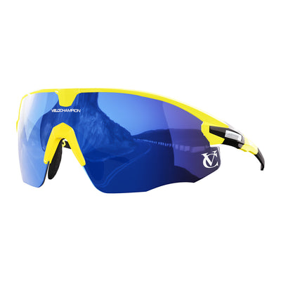 Missile customisable sunglasses with yellow frame, blue lens and yellow nose piece | VeloChampion