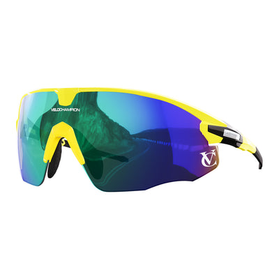 Missile customisable sunglasses with yellow frame, green lens and yellow nose piece | VeloChampion