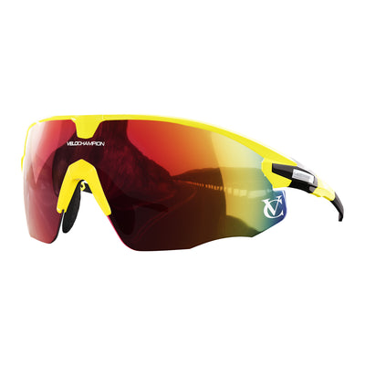 Missile customisable sunglasses with yellow frame, red lens and yellow nose piece | VeloChampion