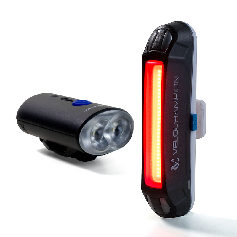 VELOCHAMPION Bike Lights USB Rechargeable Front and Rear Set - Velochampion