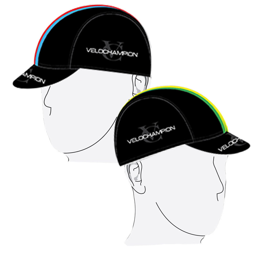 VELOCHAMPION Cycling Tech Cap - Black with World Champs Band - Velochampion