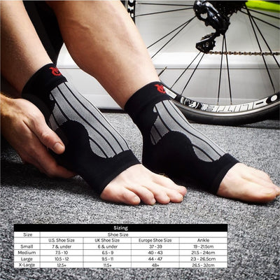 VeloChampion Plantar Fasciitis Compression Ankle Socks for Men and Women Size Guide