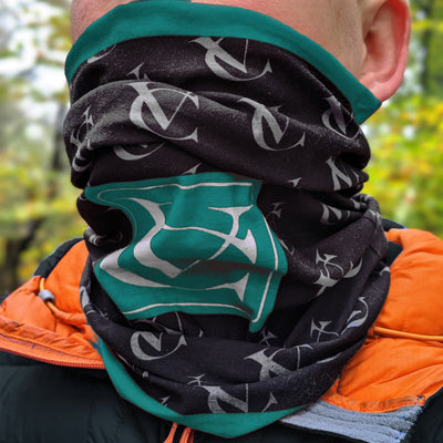 VC VeloChampion Teal Green VC Neck Warmer with VC pattern logo