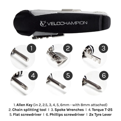 VC Bike Gooj 3 Multi Tool 15 Function with Chain Breaker and Free Neoprene carry case - Velochampion