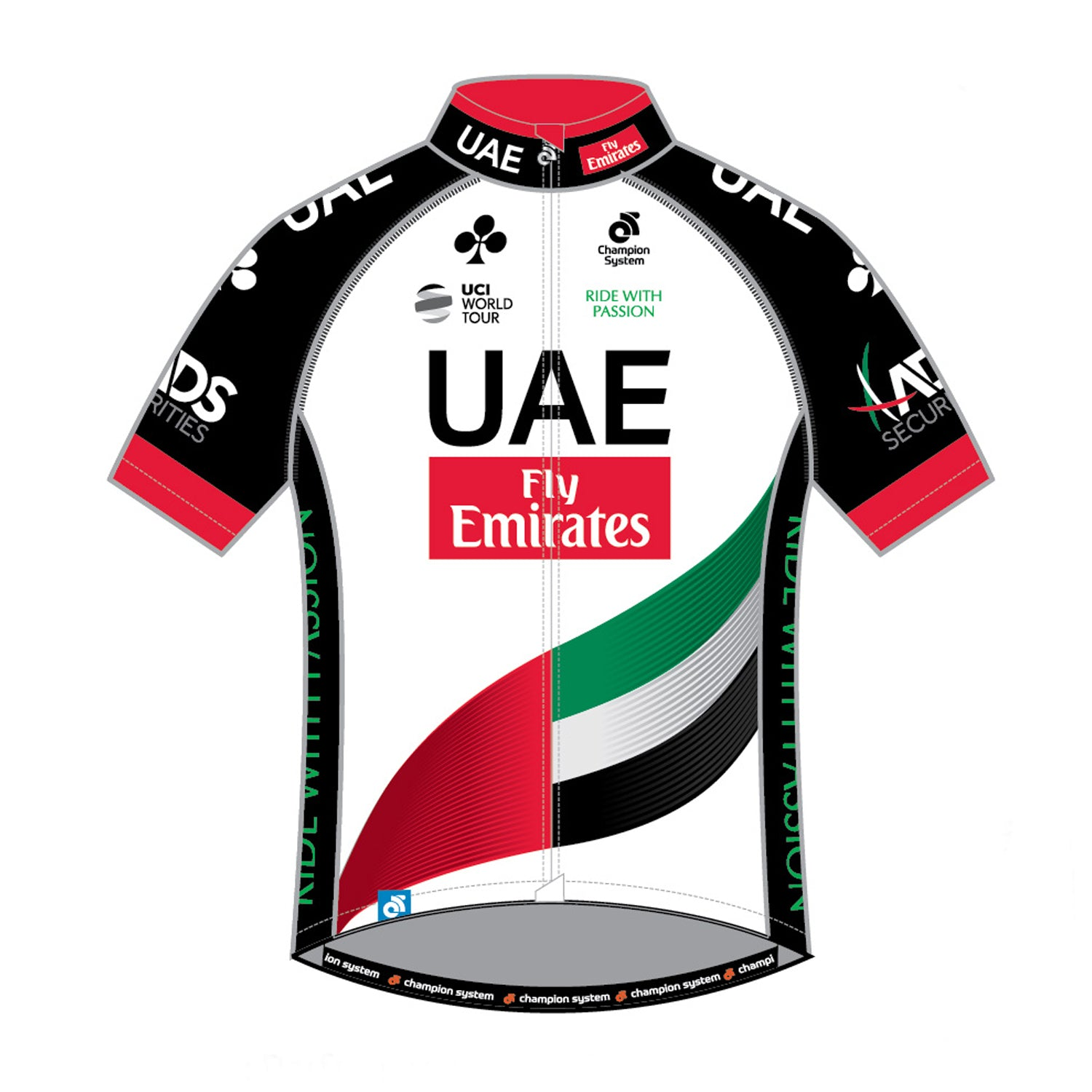 U.A.E. Team Emirates Mens Tech Pro Short Sleeve Cycling Jersey - Club Cut. - Velochampion