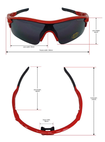 Warp red fixed frame cycling, running and sports sunglasses | VeloChampion