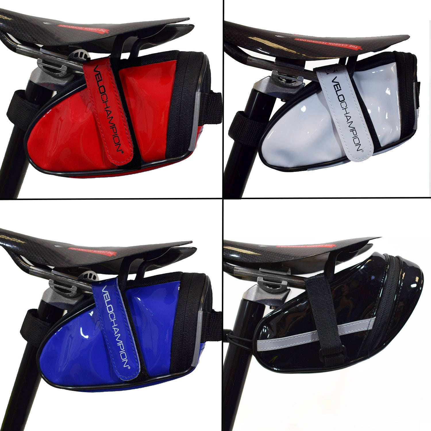 Blue Black VeloChampion Slick Bike Seat Pack Red or White Saddle Bag
