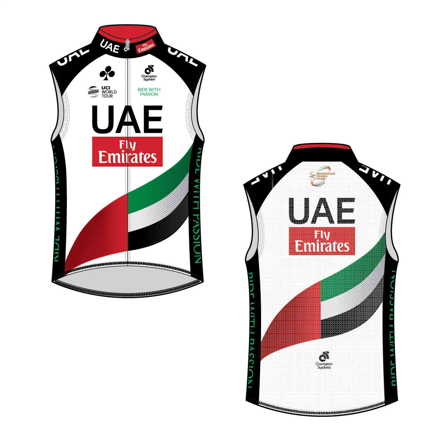 U.A.E. Team Emirates Wind Guard Vest Cycling Gilet - Velochampion