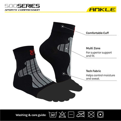 Ankle Support Compression Socks (pair) for Runners / Plantar Fasciitis. Relieves Pain Fast - Velochampion