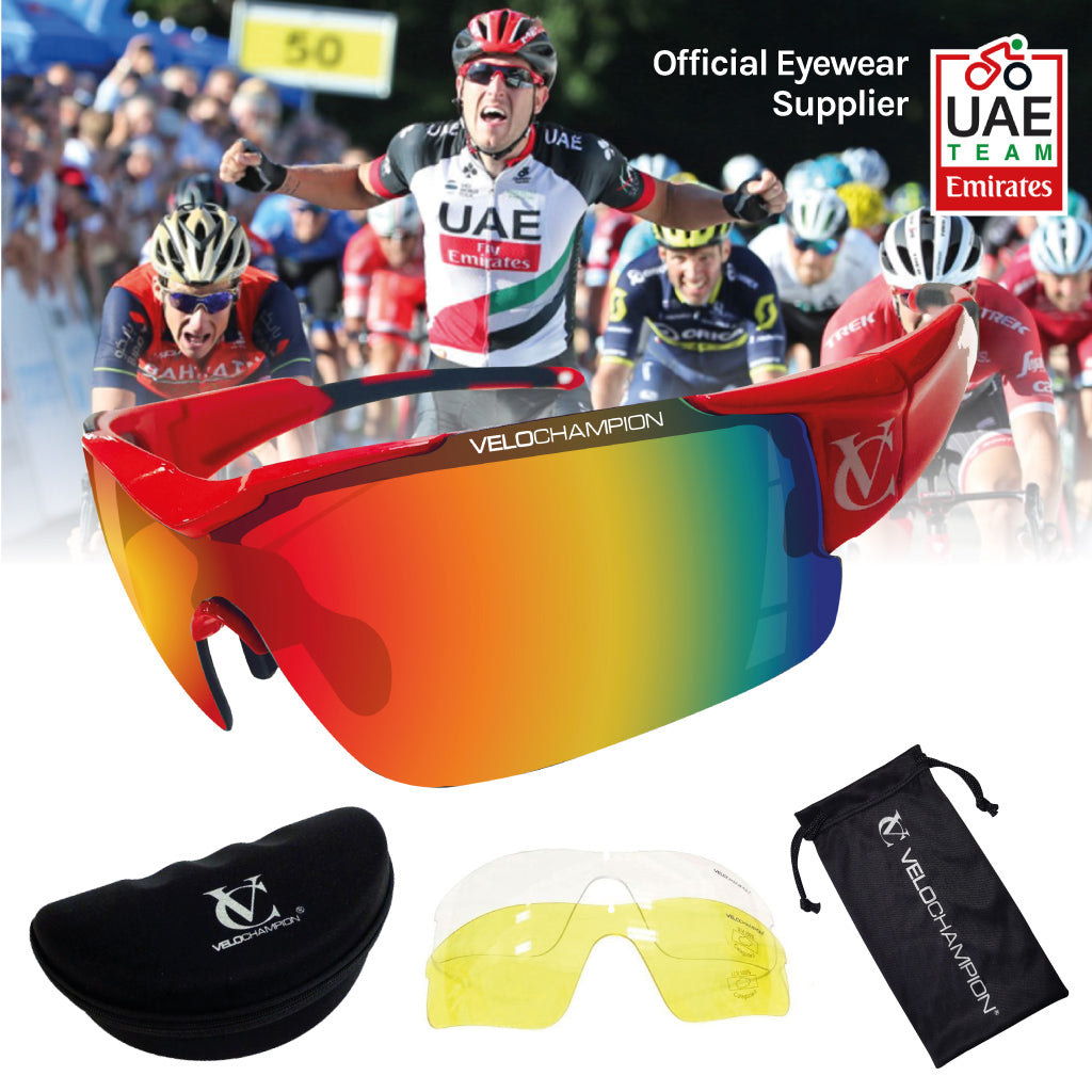 Vortex customisable cycling glasses designed for pro Team UAE | VeloChampion