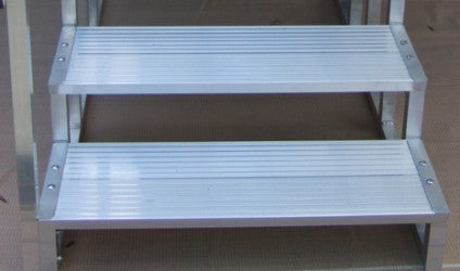 "Three Aluminum Steps -21"" high, 36"" wide"