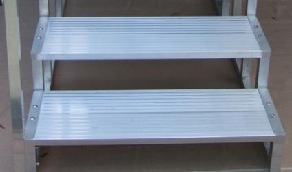 "Two Aluminum Steps -14"" high, 36"" wide - Dambach Ramps - aluminum ramps for all equipment"