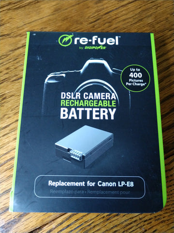 Rechargeable LP-E8 Battery for Canon DSLR camera- New - Dambach Ramps - aluminum ramps for all equipment