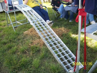 10 Foot Long, 16 Inch Wide, 3000 Pound FOLDING Ramps - Dambach Ramps - aluminum ramps for all equipment