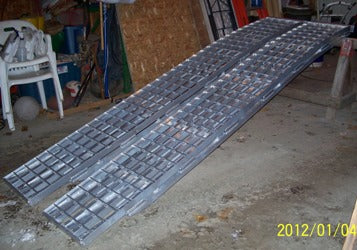 "14' long x 16"" wide, 12,000 pound capacity set of 2 ramps - Dambach Ramps - aluminum ramps for all equipment"