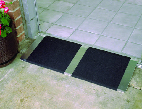 "36"" wide Grooved aluminum adjustable threshold ramp 1"" to 2"" high."