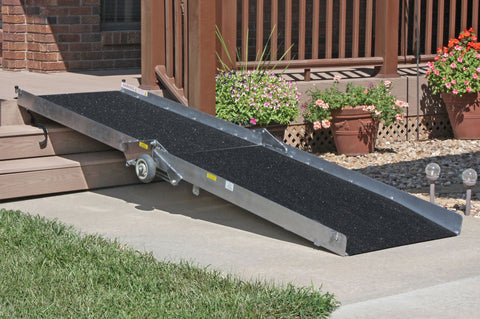 PVI Portable 10 Foot Long Wheelchair and Scooter Ramp - Dambach Ramps - aluminum ramps for all equipment