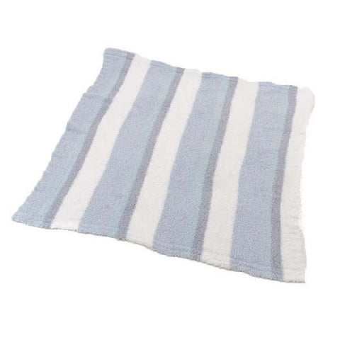 Barefoot Dreams 557 CozyChic Multi Striped Receiving Blanket (White/Ocean/Aqua Ice/Blue)