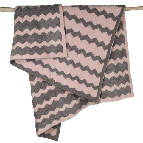 Barefoot Dreams 582 CozyChic Chevron Blanket (Dusty Rose/Warm Gray)