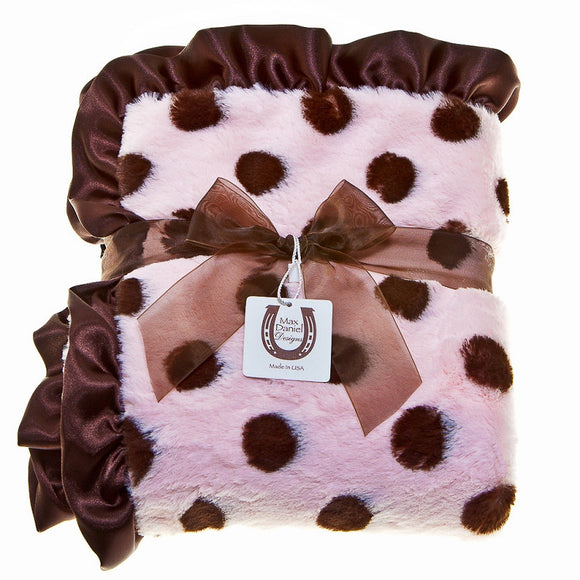 Max Daniel Plush Dots Baby Throw (Choco-Pink Dots)