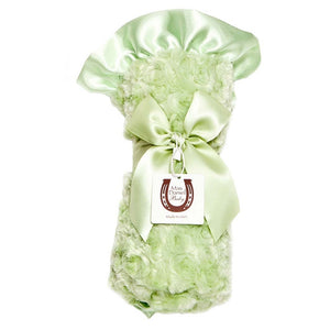 Max Daniel Rosebuds and Satin Baby Throw (Celery)