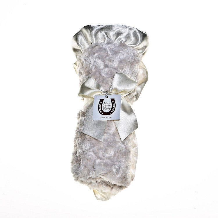 Max Daniel Rosebuds and Satin Baby Throw(Platinum)