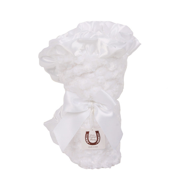 Max Daniel Rosebuds and Satin Baby Throw (White)