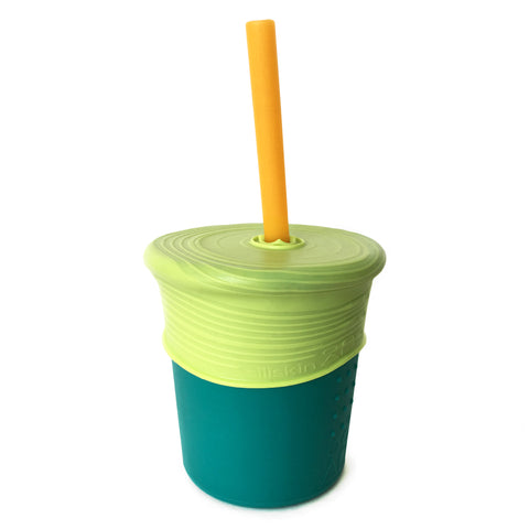 Gosili Storm (Teal) Silicone Cup with Lime Straw Top and Orange Straw