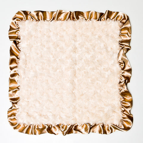 Max Daniel Rosebuds and Satin Security Blanket (Champagne)