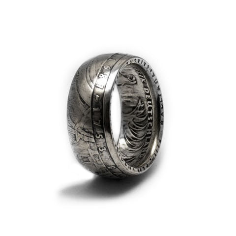 Handmade in Noosa recycled silver german 5 mark coin ring