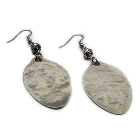 Handmade in Eumundi recycled silver spoon earrings