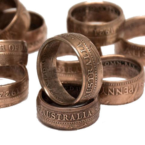 Handmade in Eumundi recycled silver australian penny coin ring