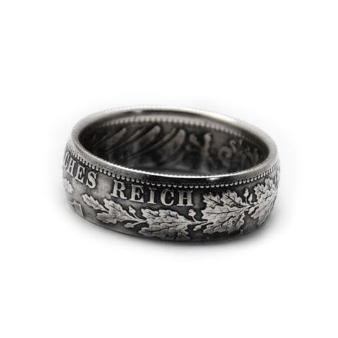 Handmade in Noosa recycled silver mark coin ring
