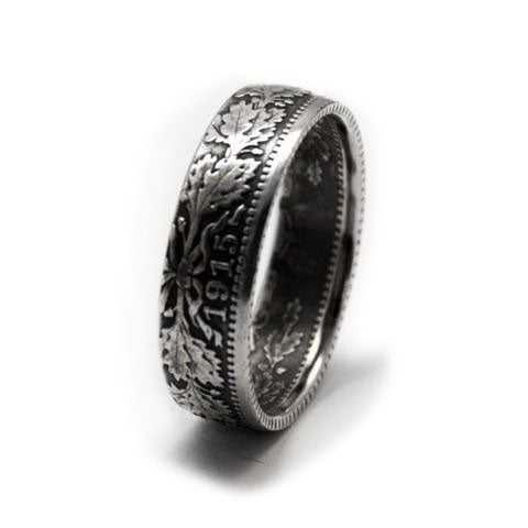 Handmade in Eumundi recycled silver mark coin ring