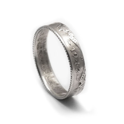 Handmade in Eumundi recycled silver australian six pence coin ring