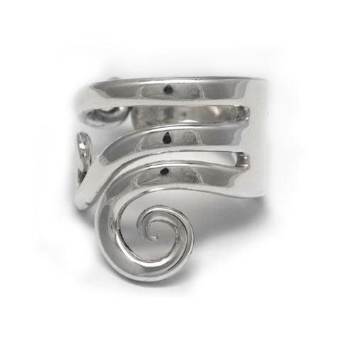 Handmade silver fork ring made in Noosa
