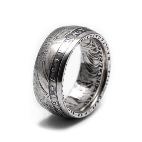 Handmade in Eumundi recycled silver german 5 mark coin ring