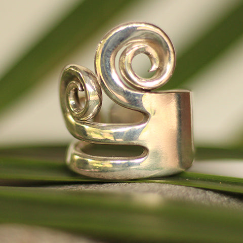 Recycled silver fork ring