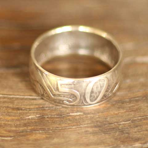 Handmade in Eumundi recycled silver Australian 50 cent round coin ring