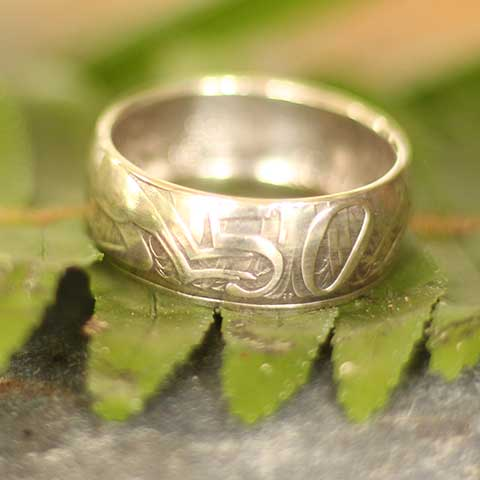 Recycled Australian 50 cent round coin ring