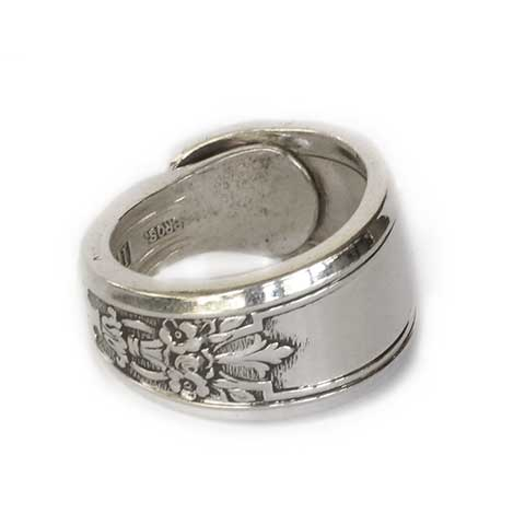 Antique Spoon Ring Floral  Patterns