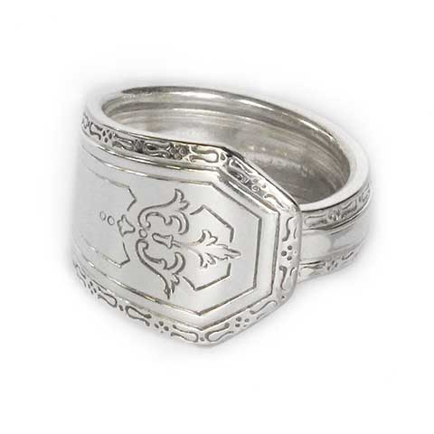 Antique Spoon Ring Floral with Hexagon End