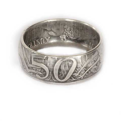 Handmade in Noosa recycled silver Australian 50 cent coin ring