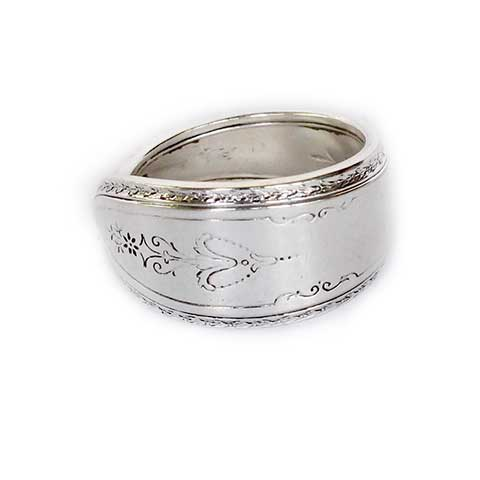 Handcrafted silver spoon ring made in Noosa