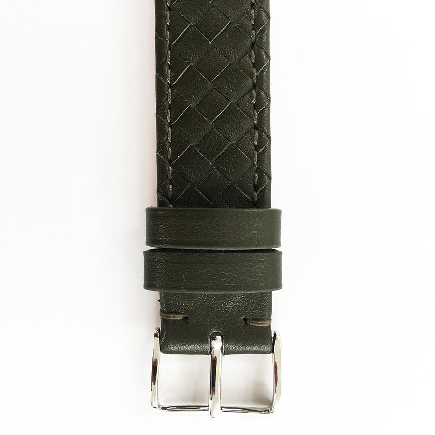Embracelet woven Olive green with 18k gold buckle