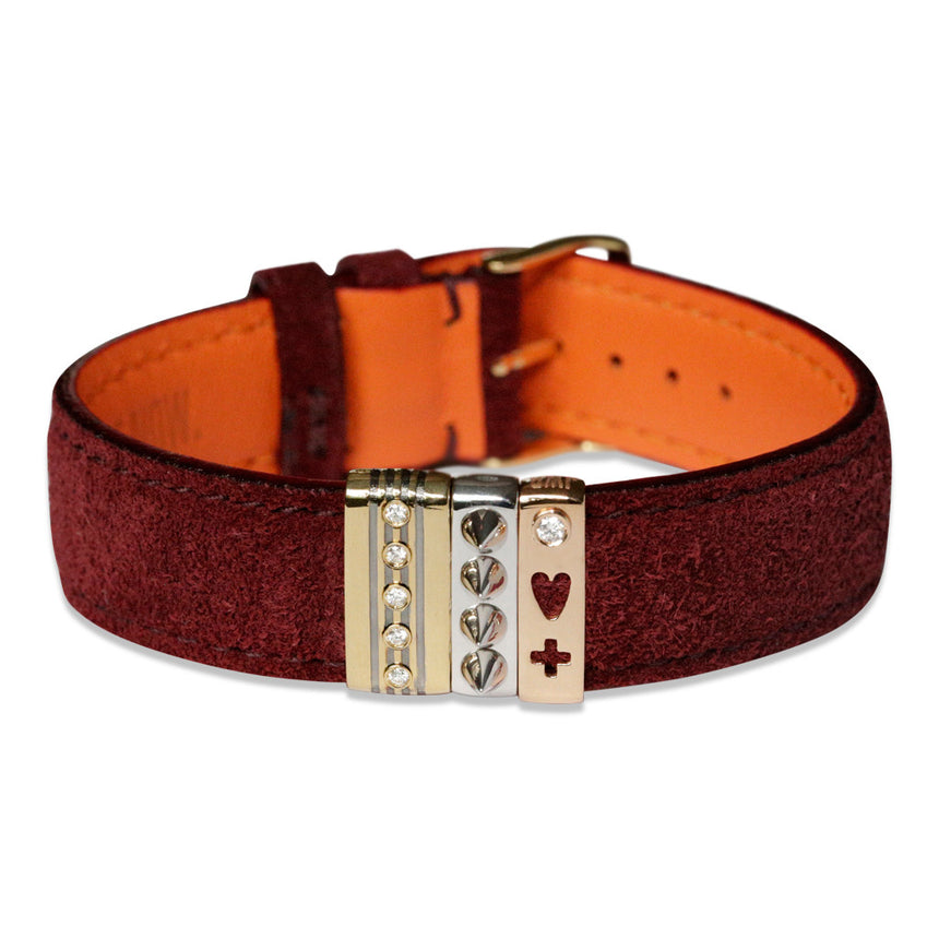 Embracelet bourgogne with 18k gold buckle