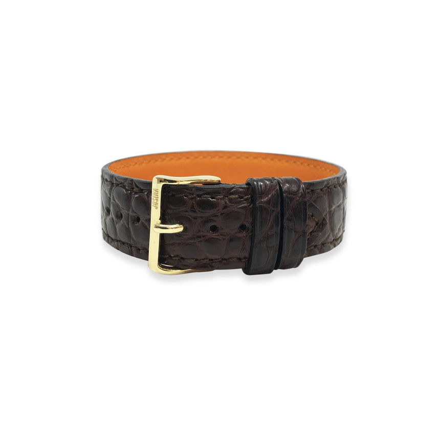 Embracelet Alligator brown with 18k gold buckle